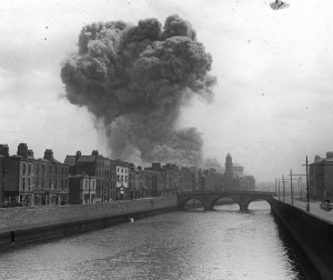 An explosion at the Four Courts during bombardment